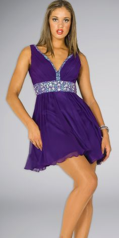 9446357ecb96 Purple Party Dresses Are Best Party Dress with Good Color   V Neck Flared Purple  Party