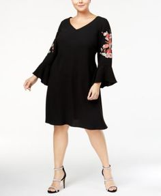 ce4d6db0 SL Fashions Plus Size Embroidered Bell-Sleeve Dress & Reviews - Dresses -  Women - Macy's