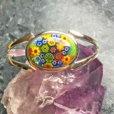 Womens Bracelet Cabochon Bracelet Millefiori Cabochon Bracelet Adjustable Bracelet Torque Bangle Torque Bracelet Womens Gift Gift For Her by CraftyWeavings on Etsy https://www.etsy.com/uk/listing/487356081/womens-bracelet-cabochon-bracelet