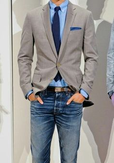 Business casual menswear - grey blazer, blue shirt and jeans Sharp Dressed Man, Well Dressed Men, Fashion Mode, Look Fashion, Mens Fashion, Fashion Vest, Fashion Menswear, Winter Fashion, Fashion Tips
