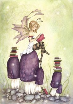 Fantasy Art Original Watercolor Painting - 9x12 - The Knowledgeable Pixie - Fairy tale, whimsical, books, reading, mushrooms, purple. $160.00, via Etsy.