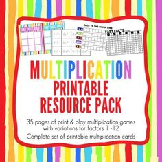 Printable Multiplication Resource Pack. This 35 page printable Multiplication…