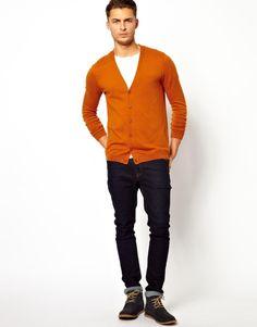 Light Orange Button-Sleeve Cardigan | Cardigans, Orange cardigan ...