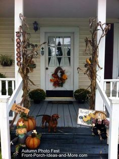 Country Front Porch Decorating Ideas | Charlene's country porch decorated for autumn