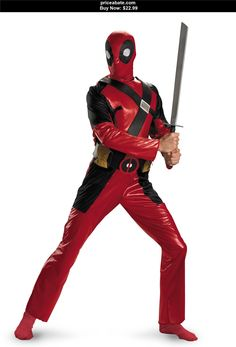 Men-Costumes: Deadpool Classic Adult Costume - BUY IT NOW ONLY $22.99