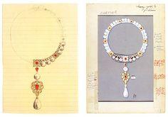 la peregrina pearl cartier designs for Elizabeth Taylor necklace