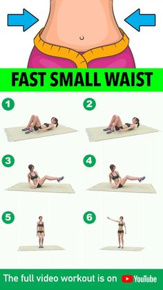 Fast Small Waist Workout Minutes) You've been seeing a lot of exercises that help eliminate belly fat and promise to give you a slimmer, sexier waist. We've combined the simplest, most effective workout. Butt Workout At Home, Full Body Gym Workout, Gym Workout Videos, Gym Workout For Beginners, Belly Fat Workout, At Home Workouts, Workout Abs, Workout Exercises, Stomach Workouts