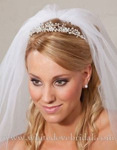 """Open-back Silver/White Rhinestone Tiara with Pearls. 5"""" Wide, Center Height 1""""  $52"""