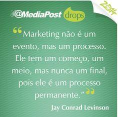 """""""Marketing não é um evento, mas um processo. Ele tem um começo, um meio, mas nunca um final, pois ele é um processo permanente."""" Jay Conrad Levinson #marketing #emailmarketing"""