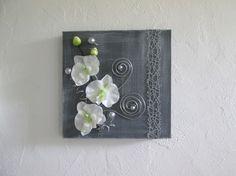 Tableau 3D avec fleurs artificielles, orchidée blanche, moderne,art floral, composition florale, mariage, cadeau