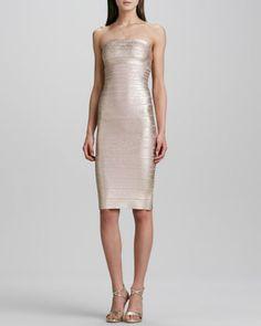 Herve Leger Strapless Bandage Dress, Rose Gold - Neiman Marcus