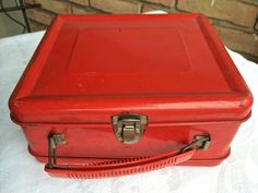 Vintage red tin lunch box, fire engine red metal, red plastic handle, little rusty metal suitcase, loaded with charm and memories… by TwoSwansSwimming on Etsy
