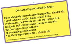 Ode to the Paper Cocktail Upbrella by Princess Rosebud, Enchanted Seashells, Confessions of a Tugboat Captain's Wife
