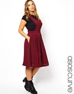 ASOS CURVE Midi Skirt With Bib Detail