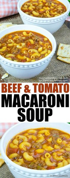 This Beef and Tomato Macaroni Soup recipe combines the goodness of tomato, flavorful ground beef and tender pasta to create a delicious, hearty soup that your family will love!