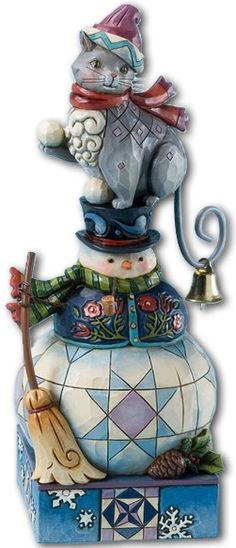 Jim Shore Heartwood Creek Christmas Cat on Snowman Figurine WINTER'S WHIMSY