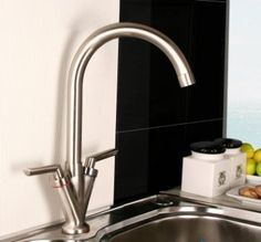 Niagra Kitchen Brushed Steel Kitchen Mixer Taps - Swivel Spout [PT-TK221] - £53.23 : Platinum Taps & Bathrooms Basin Sink Bathroom, Sink Taps, Brushed Steel Kitchen Taps, Towel Radiator, Kitchen Mixer Taps, Bathroom Furniture, Bathroom Accessories, Bathrooms, Shower