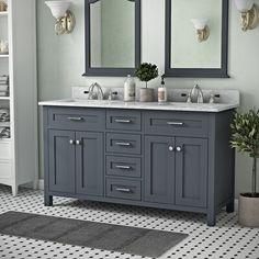 Gracie Oaks Motta Double Bathroom Vanity Set with Mirror Bathroom Interior, Modern Bathroom, Small Bathroom, Bathroom Ideas, Rustic Bathrooms, Gray Bathrooms, Restroom Ideas, Bathroom Stuff, Upstairs Bathrooms