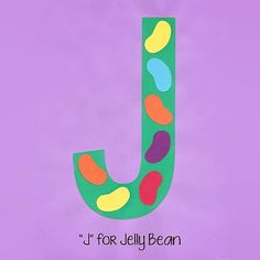"""""""J"""" is for Jelly Beans! Alphabet Art is a great way to teach young children sight words, letter recognition, and develop fine motor skills. Preschool Letter Crafts, Alphabet Letter Crafts, Abc Crafts, Kindergarten Crafts, Classroom Crafts, Alphabet Book, Letter Art, Alphabet Phonics, Printable Alphabet"""