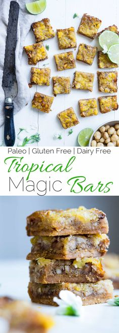 Tropical Paleo Magic Cookie Bars - These healthy magic cookie bars are loaded with coconut, pineapple, macadamia nuts and lime juice for a dairy, grain and gluten free summer treat that tastes anything but healthy! | Foodfaithfitness.com | @FoodFaitFit