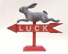 Folk Art Rabbit Weather Vane Arrow Sign by albrechtsantiques