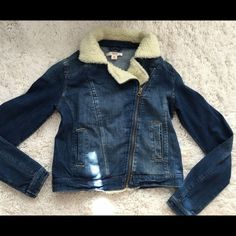 70's style jean jacket Serpa lined I believe, not real sheep. Size small. Not JC tagged for views Jeffrey Campbell Jackets & Coats Jean Jackets