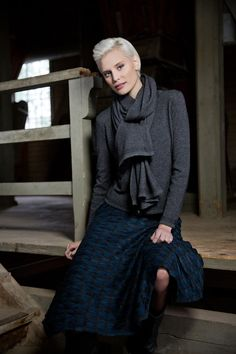Blue skirt with a cardigan in kashmir and merino. www.kriss.eu