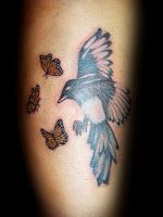 Magpie and Monarchs Tattoo by Kate Muir