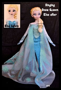 repainted ooak singing snow queen elsa doll. by verirrtesIrrlicht.deviantart.com on @DeviantArt