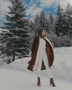Let it Snow — Sarah Christine Winter Fashion Outfits, Fall Winter Outfits, Winter Wear, Snow Photography, Girl Photography Poses, Brown Faux Fur Coat, St Moritz, Winter Instagram, Shooting Photo