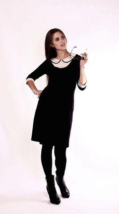 Stretchkleider -  Schwarzes Blusenkleid mit Bubikragen - ein Designerstück von Berlinerfashion bei DaWanda