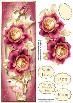 Beautiful Pink Pastel Roses Large DL on Craftsuprint designed by Anne Lever - This lovely large DL sized topper features gorgeous pink roses on a golden frame. It has decoupage, four greetings and a blank greetings tile.  - Now available for download!