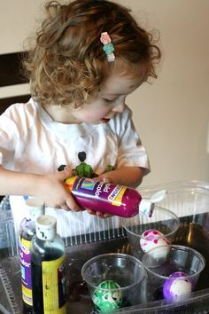 Our final adventure with egg dyeing was the most toddler-friendly yet! Unlike ...