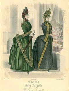 Look at those bustles! Victorian Era Fashion, 1880s Fashion, Victorian Steampunk, Victorian Dresses, Retro Fashion, Vintage Fashion, Historical Clothing, Historical Dress, 19th Century Fashion