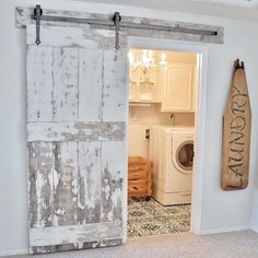 DIY chippy barn door and painted stenciled floors