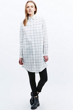 Light Before Dark Check Longline Shirt in Ivory - Urban Outfitters