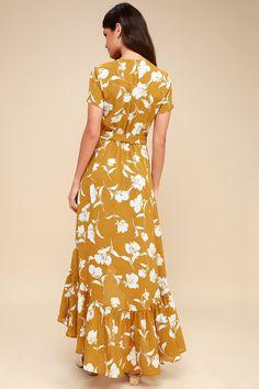 Vineyard Vacation Dark Yellow Floral Print High-Low Wrap Dress 4