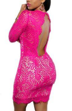 c7baec461acb Deep V Neck Lace Nude Illusion Mini Dress