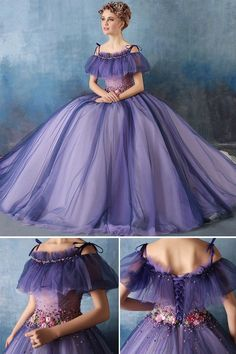 Cute Applique Beading Cap Sleeves Off Shoulder Neck Floor Length Ball Gown Dress Ball Gown Dresses, 15 Dresses, Pretty Dresses, Dresses Online, Fashion Dresses, Oscar Dresses, Lace Wedding, Wedding Dresses, Period Costumes
