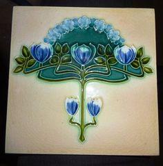 VINTAGE TILE ENGLAND BLUE FLOWER DESIGN ARCHITECTURAL ANTIQUE  CERAMIC TILE OLD