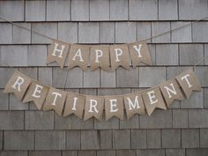 Retirement Party Decor, Retirement Banner, Retirement Burlap Bunting, Happy Retirement Garland, Custom Retirement Sign, Office Work Party