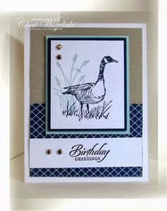 """By Chat Wszelaki. Uses """"Wetlands"""" stamp set by Stampin' Up. Neat and clean card!"""
