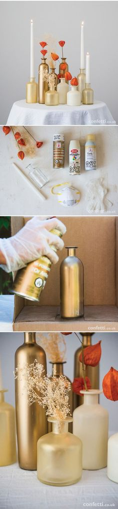 DIY Gold Fall Wedding Centrepiece / http://www.himisspuff.com/diy-wedding-centerpieces-on-a-budget/14/