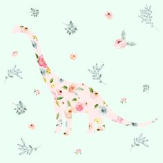 """8"""" Floral Dino / Roses / Minty Green by shopcabin"""