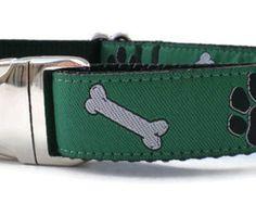 dog collar - bones n' paws green dog collar - big dog collar christmas gift idea - large winter dog collar - dog collar with metal buckle