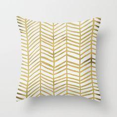 Gold Herringbone Throw Pillow, $20.00