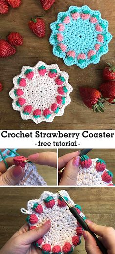 Crochet Strawberry Coaster – free tutorial Learn how to crochet this beautiful coaster with strawberries. Crochet Coaster Pattern, Crochet Motif, Crochet Designs, Crochet Doilies, Crochet Yarn, Crochet Stitches, Crochet Potholders, Crotchet, Crochet Home