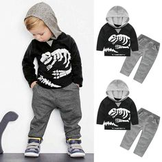 Toddler Kids Baby Boys Dinosaur Bones Clothes Set Hooded Tops Pants Outfit 24M-5T