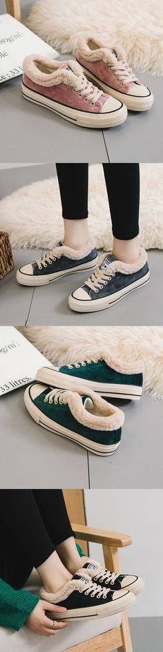 US$23.21  Fur Lining Lace Up Warm Canvas Flat Shoes