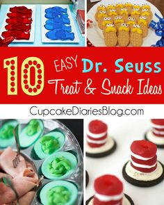 10 Easy Dr. Seuss Treat and Snack Ideas #DrSeuss #ReadAcrossAmerica #party | CupcakeDiariesBlog.com Dr Suess Baby, Baby Shower Themes, Baby Shower Ideas Dr Seuss, Dr Seuss Party Ideas, Baby Boy Shower, Ideas Party, Celebrating Dr Seuss Birthday, Dr Seuss Birthday Party, First Birthday Parties